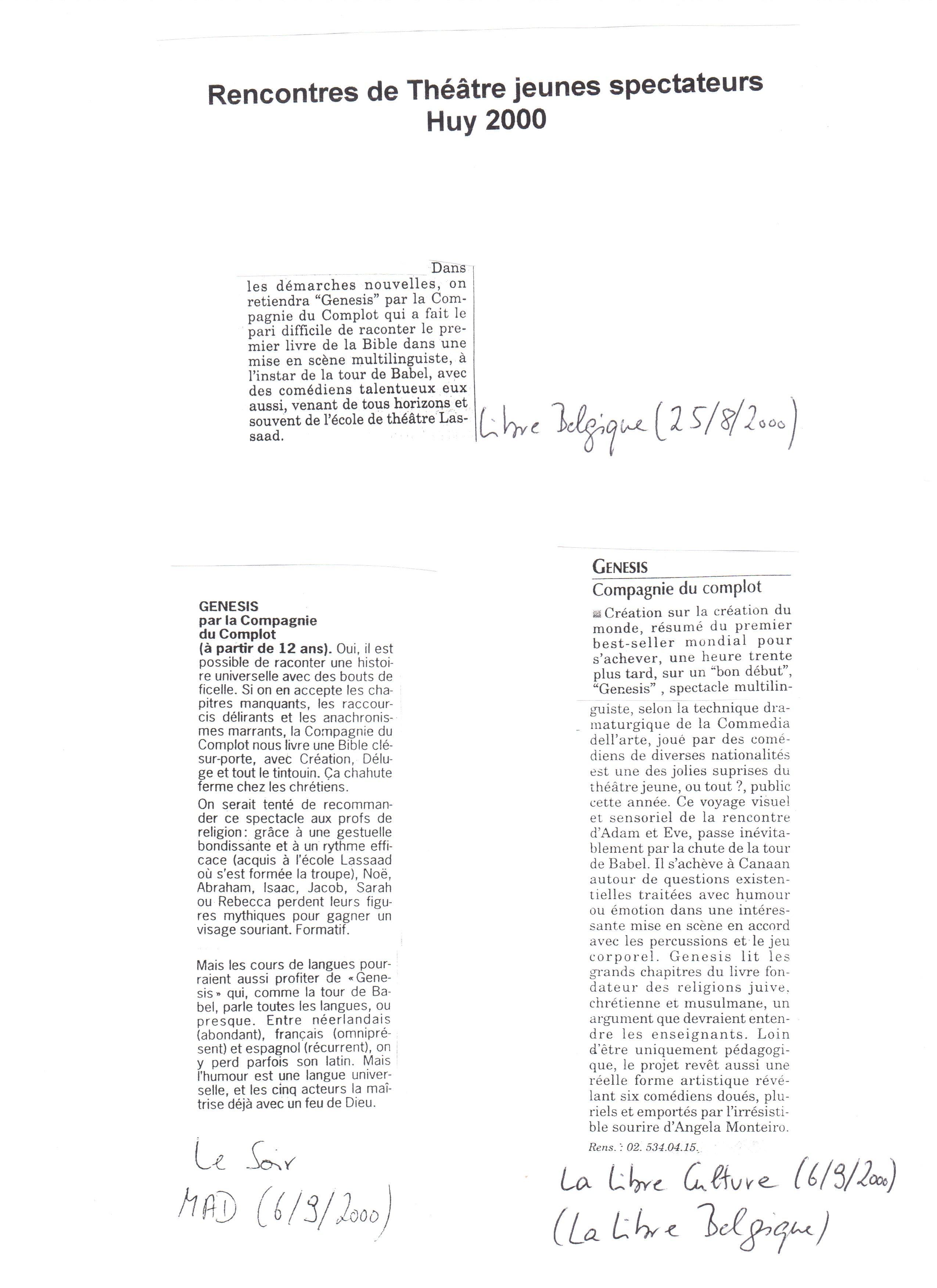 2) Libre Belgiue, Libre Culture, Le Soir (1)
